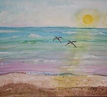 Daytona Beach Florida  Pelican Pair by eoconnor