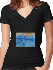 Impression, Sunrise Monet painting Soleil Levan Women's Fitted V-Neck T-Shirt