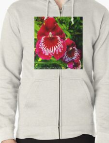 #295          Red & White Orchid Zipped Hoodie