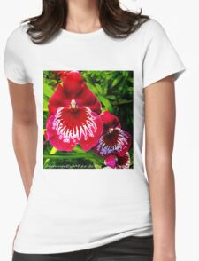 #295          Red & White Orchid Womens Fitted T-Shirt