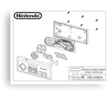 Exploded NES Controller Schematic Canvas Print