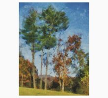 Tall Trees Against A Blue Sky One Piece - Long Sleeve