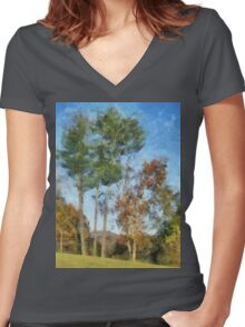 Tall Trees Against A Blue Sky Women's Fitted V-Neck T-Shirt