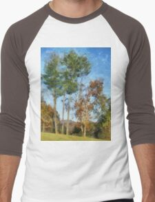 Tall Trees Against A Blue Sky Men's Baseball ¾ T-Shirt