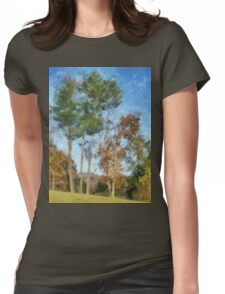 Tall Trees Against A Blue Sky Womens Fitted T-Shirt