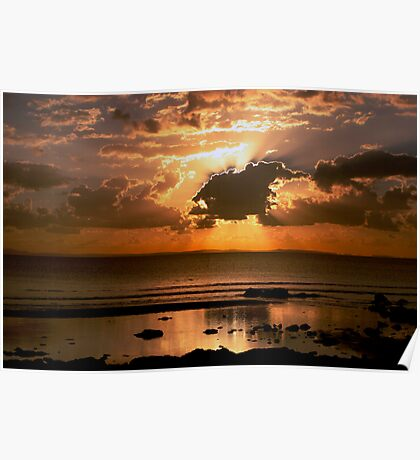 Sunset at Rainbowbeach. Poster