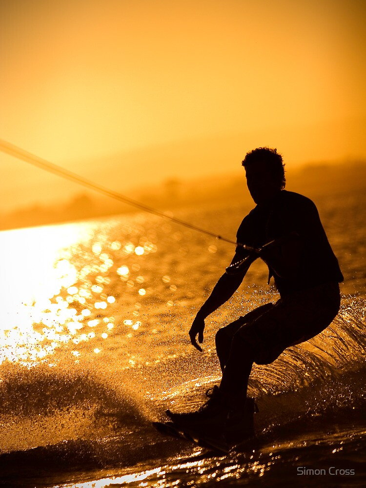Wakeboarding at Sunset by Simon Cross