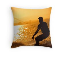 Wakeboarding at Sunset Throw Pillow