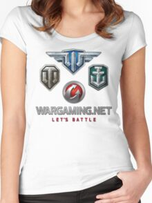 Wargaming MMO Logos Women's Fitted Scoop T-Shirt