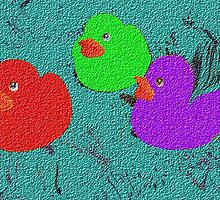 Rubber Ducks Playing In the Paint by Linda Miller Gesualdo