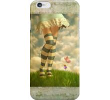 Cute Girl with Striped Socks iPhone Case/Skin