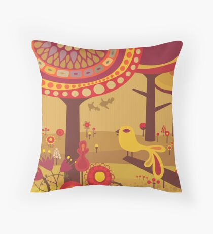 Retro Bird with Trees Throw Pillow