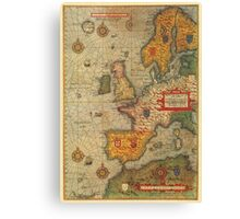 Europe Map 1584 Canvas Print