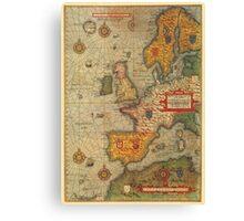 Europe Map 1584 Canvas Print