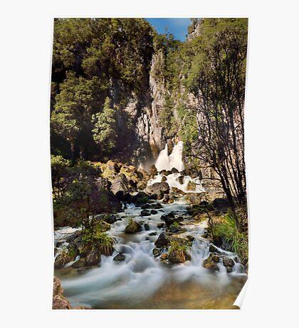 Tarawera Falls Rockface Poster