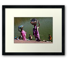 Washing Day, Sari Clad Women, South India Framed Print