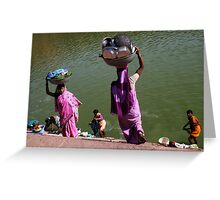 Washing Day, Sari Clad Women, South India Greeting Card