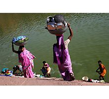 Washing Day, Sari Clad Women, South India Photographic Print