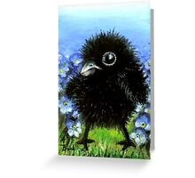 Baby raven among forget-me-nots Greeting Card