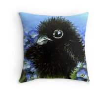 Baby raven among forget-me-nots Throw Pillow