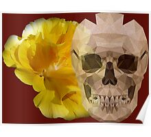 Yellow hibiscus and skull, nice couple Poster