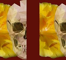 Yellow hibiscus and skull, nice couple by JoAnnFineArt