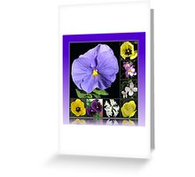 Spring Flowers Collage in Blue and Yellow Greeting Card