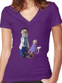 Kid at the dentist Women's Fitted V-Neck T-Shirt