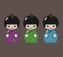 Cute Kokeshi dolls on green One Piece - Short Sleeve