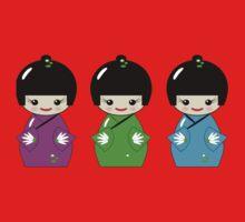 Cute Kokeshi dolls on green One Piece - Long Sleeve