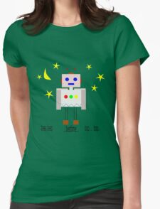 Bedtime robot beep beep Womens Fitted T-Shirt