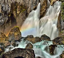 Tarawera Falls Fantail Rainbow Rocks by Ken Wright