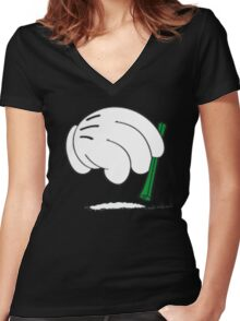 cocaine cartoon hands Women's Fitted V-Neck T-Shirt