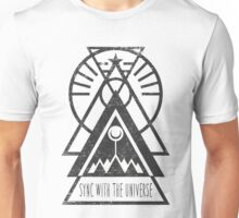 Sync with the Universe - Typography and Geometry Unisex T-Shirt