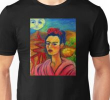 Frida Prickly Pear Volcano Lonely Moon Mexican Landscape Unisex T-Shirt