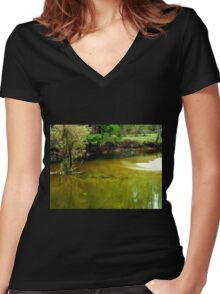 Tranquil Beauty Women's Fitted V-Neck T-Shirt
