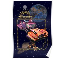 Future Travel by Space Car Poster