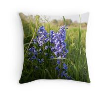 Meadow Bluebells Throw Pillow