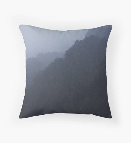 Mountain Snowstorm Throw Pillow