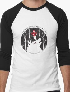 He Who Runs With Wolves Men's Baseball ¾ T-Shirt