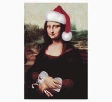 Mona Lisa Wearing a Santa Hat One Piece - Short Sleeve