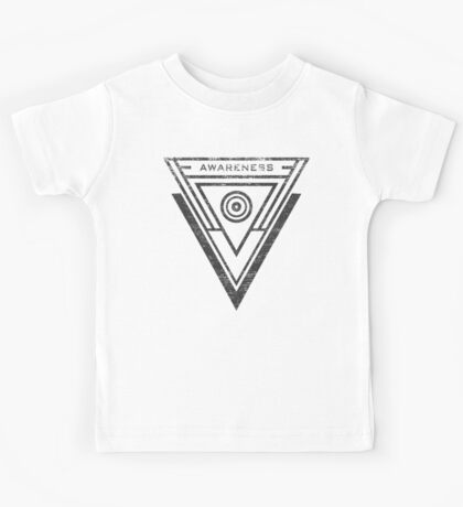 Awareness - Typography and Geometry Kids Tee