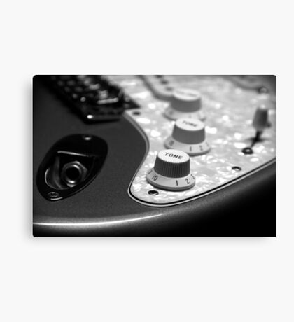 Fender Stratocaster Electronics Detail Black And White Canvas Print