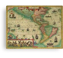 Americas Region Map 1606 Canvas Print