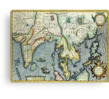 Southern Asian Continent Map 1600s Canvas Print