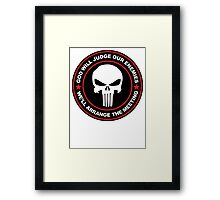 god will judge our enemies we'll arrange the meeting - red Framed Print