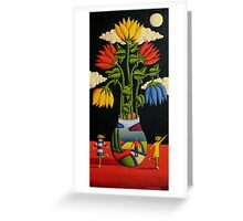 Flowers and figures by moonlight Greeting Card