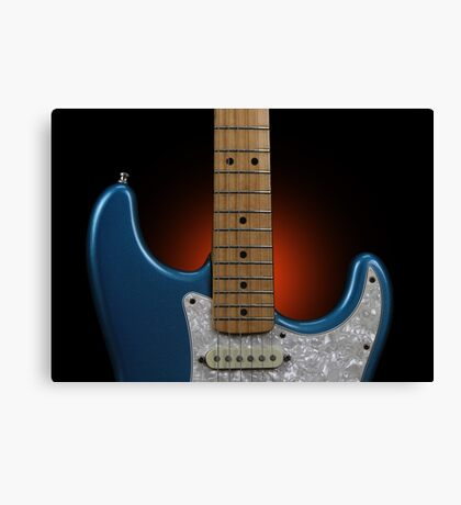 Fender Stratocaster In Blue Sparkle Cutaway Detail Canvas Print