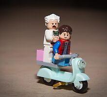 Marty and Doc ride a Scooter by garykaz