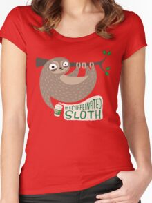 Caffeinated Sloth Women's Fitted Scoop T-Shirt